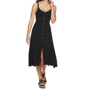 SO V-Neck Button Front Laser Cut Midi Dress